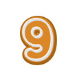 number 9 gingerbread font peppermint honey cake vector image vector image