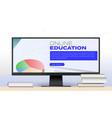 online education banner for live webinars or vector image