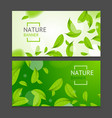 realistic fly green leaves flyer banner posters vector image vector image