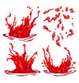 red water splashes vintage collection vector image