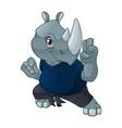 rhinoceros with self defense pose vector image