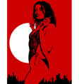 silhouette of a sexy woman on a red background vector image vector image