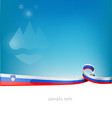 slovenia ribbon flag on blue sky background vector image vector image