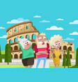 smiling old people doing selfie in rome vector image