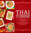 thailand cuisine restaurant dishes poster vector image vector image