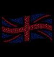 waving british flag pattern of football ball items vector image