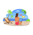 woman in swimsuit works on laptop at exotic beach vector image vector image