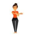 woman in t-short and leggings does flexibility vector image