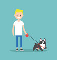 young smiling blond boy walking the dog flat vector image vector image