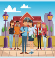 young students outside of high school vector image vector image