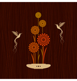 Card with birds and flowers vector image
