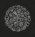 white sealife linear icons round concept vector image