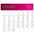 February 2017 calendar template vector image