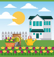 house garden fence potted flowers watering can and vector image