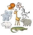 Cartoon safari and jungle animals vector image