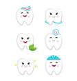 dental hygiene set with teeth clean icons vector image