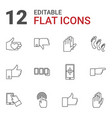 12 finger icons vector image vector image