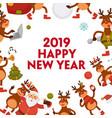 2019 cartoon santa and deer poster or greeting