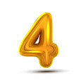 4 four number golden yellow metal letter vector image vector image