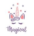 a magic cute pink unicorn vector image vector image