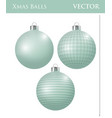 a set of light green christmas balls vector image vector image