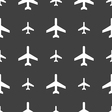 airplane icon sign Seamless pattern on a gray vector image