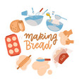 baking tools set pastry making equipment vector image