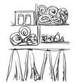 bathroom interior elements hand drawn towel and vector image vector image