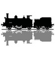 black silhouette of a vintage steam locomotive vector image