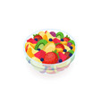 bowl of tasty salad made of fresh exotic fruits vector image vector image