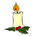 candle on fire on white background vector image vector image
