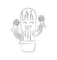 cartoon happy potted cactus with maracas vector image