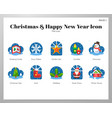 christmas and happy new year icons flat pack vector image