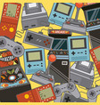 classic videogames and console entertainment icons vector image vector image