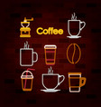 coffee drink set of neon sign on brick wall vector image