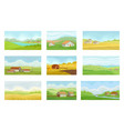 Collection of summer rural landscapes with village