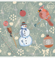 colorful winter pattern with red bird and snowman vector image vector image