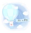 cute bear floating on hot air balloon hand drawn