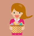cute girl holding basket full of easter eggs vector image vector image