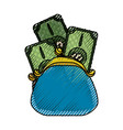 cute pruse with bills cash money vector image vector image