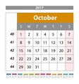 Desk Calendar for 2017 Year October Design Print vector image