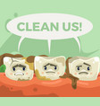 dirty sad unhappy teeth character vector image vector image