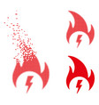 dissipated pixelated halftone electric fire icon vector image vector image