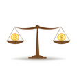 dollar and bitcoin balance vector image vector image