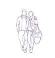 doodle couple walk embracing sketch man and woman vector image