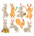 easter bunny jumping rabbit dancing funny vector image vector image