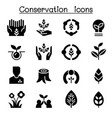 eco friendly conservation icon set graphic design vector image vector image