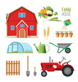 farm house set equipment for rural works and vector image
