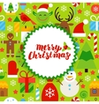 Flat Merry Christmas Postcard vector image vector image