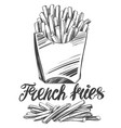 french fries fastfood logo and drawn vector image